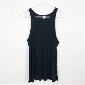 SUN & SHADOW Rib Knit Tank Black M
